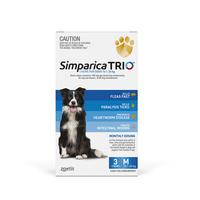 Simparica Trio 10.1-20kg Dog Flea Tick & Worm Chew 3 Pack