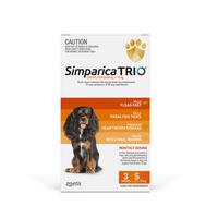 Simparica TRIO (Flea, Tick & Worms) for Dogs 5.1-10kg (3 Pack)