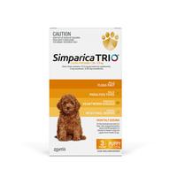 Simparica TRIO (Flea, Tick & Worms) for Dogs 1.25-2.5kg (3 Pack)