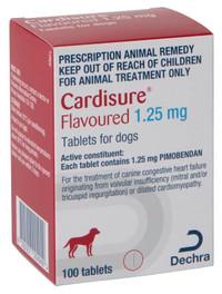 Dechra Cardisure 1.25mg Pimobendan 100 Tablets For Dogs - Congestive Heart Failure