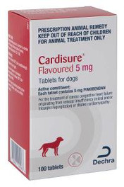 Dechra Cardisure 5mg Pimobendan 100 Chewable Tablets For Dogs - Congestive Heart Failure