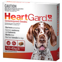 Heartgard 30 Plus Chewables Brown 23-45kg 272mcg 6's