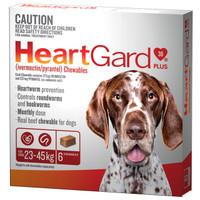 Heartgard 30 Plus Chewables Brown 23-45kg 272mcg 6's