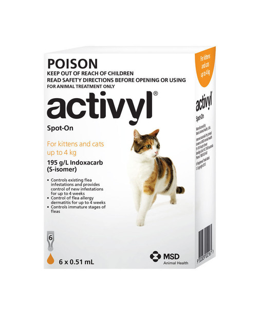 Activyl for Kittens and Cats up to 4kg Orange 6's