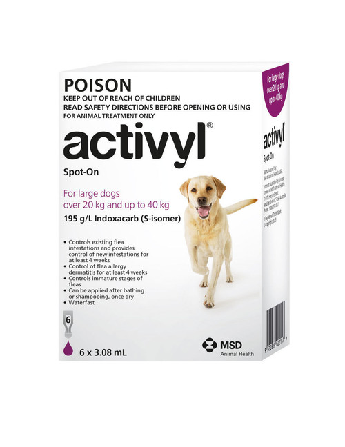 Activyl for Large Dogs 20-40kg Purple 6's