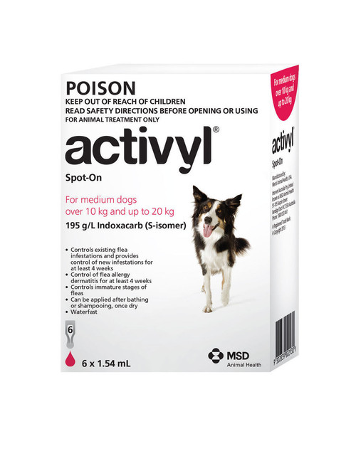 Activyl for Medium Dogs 10-20kg Red 6's