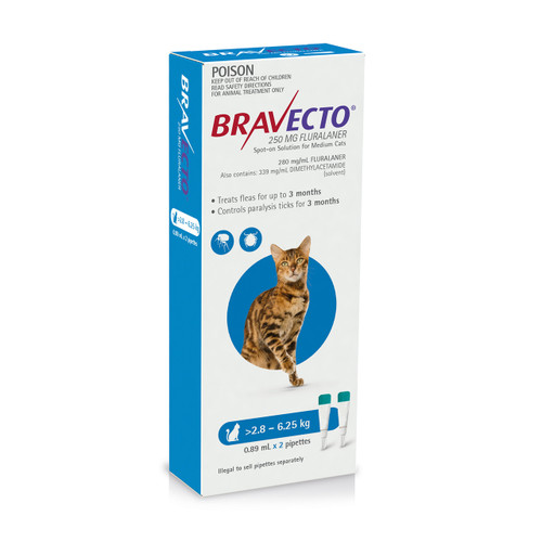 Bravecto Spot On for Cats Blue 2.8-6.25kg (2 pack)