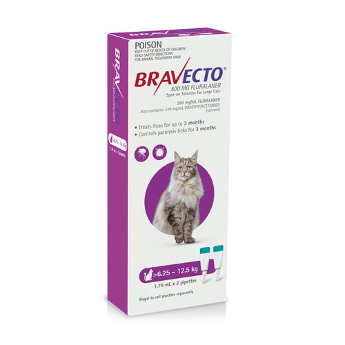Bravecto Spot On for Cats Purple 6.25-12.5kg (2 pack)