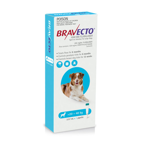 Bravecto Spot On for Dogs Blue 20-40kg (1 pack)