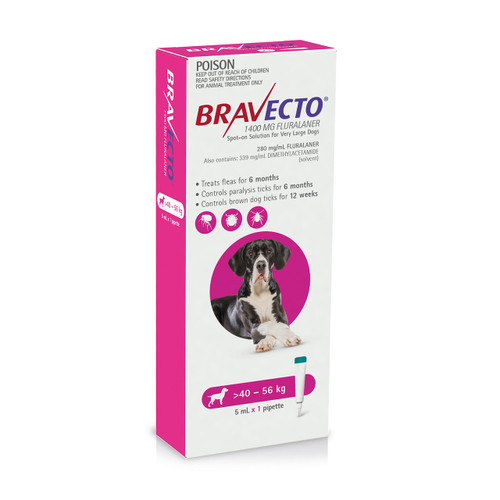 Bravecto Spot On for Dogs Pink 40-56kg (1 pack)