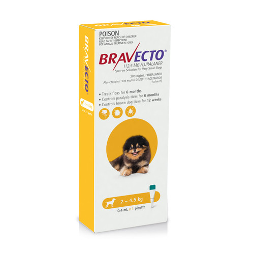 Bravecto Spot On for Dogs Yellow 2-4.5kg (1 pack)