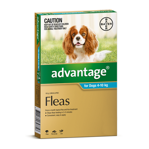 Advantage For Dogs  4-10kg Medium Aqua 4 Pack
