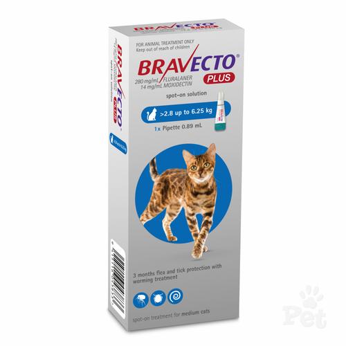 Bravecto PLUS for Medium Cats Blue 2.8-6.5kg (1 pack)