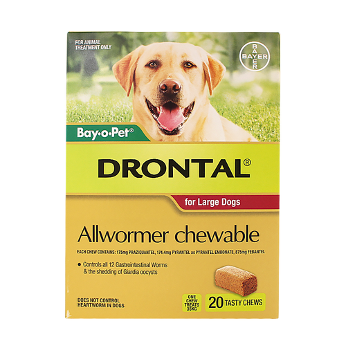 Drontal For Large Dogs 35Kg Chewable (20 Pack)