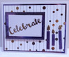 Thermoweb Deco Foil Sheets Gold, Wild Lavender, Foil Mates dots & strings, small rectangle die set, Waffle Flower Word die Celebrate