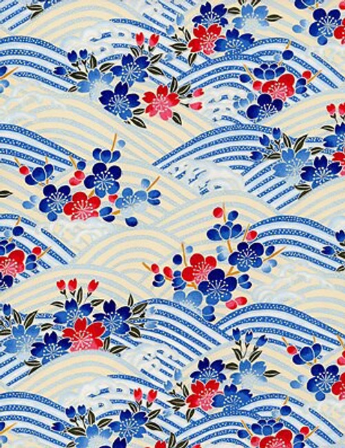 Blue Floral Waves Washi paper
