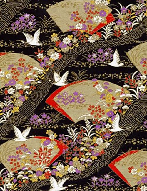 Hanko Designs Elegant Golden Fans and Swans Washi paper