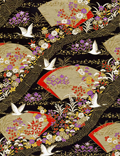 Elegant Golden Fans and Swans Washi