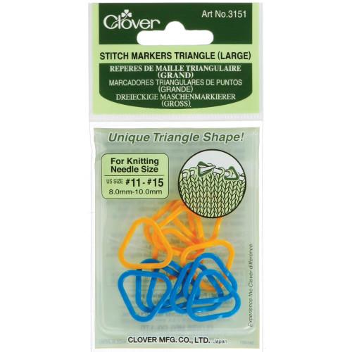 Clover Triangular Stitch Markers Large sizes 11 - 15