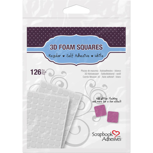 "Scrapbook Adhesive 3D Foam Squares .5x.5"" White 126 pack"