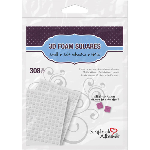 "Scrapbook Adhesive 3D Foam Squares .25"" 308 pack white"