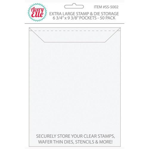 Avery Elle Stamp & Die Storage Pockets Extra Large Pack of 50  6.75x9.25""