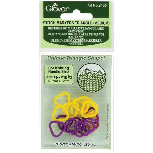 Clover  Stitch Markers Triangle Medium size 9 - 10.5
