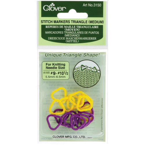 Clover  Stitch Markers Triangle Medium size 9 - 10.5