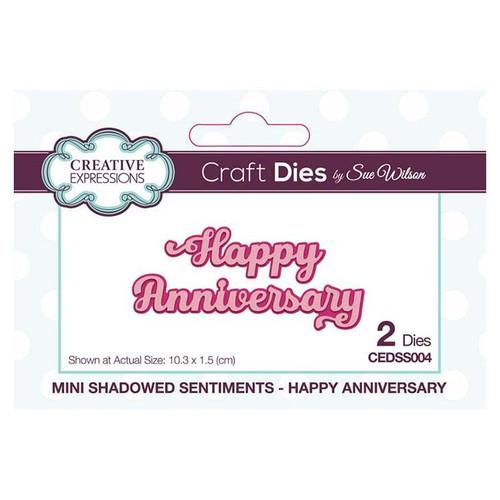 Sue Wilson Mini Shadlowed Sentiments Happy anniversary
