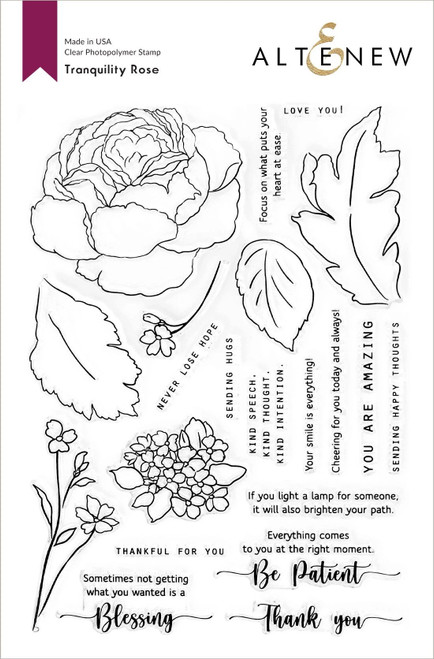 Altenew Tranquility Rose Stamp Set