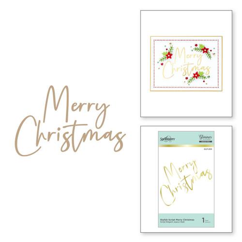 Spellbinders Glimmer Hot Foil Plate Stylish Script Merry Christmas