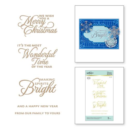 Spellbinders Glimmer Elegant Holiday Sentiments Hot Foil Plates