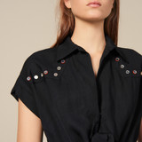 Shirt dress trimmed with coloured studs - Black