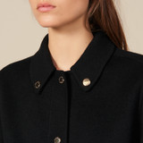 Wool coat with gold tone press studs - Black
