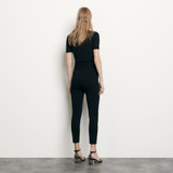 Knit leggings with small slits - Black