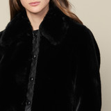 Faux fur bomber jacket - Black