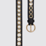 Belt with round buckle and eyelets - Black