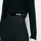 Black long pleated wrapover skirt - Black