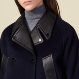 Cropped wool jacket - Navy