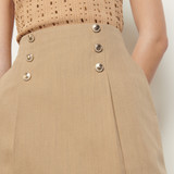 Sandro Paris Women's Short cotton and linen blend skirt  - Camel