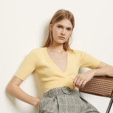 V neck cropped sweater - Yellow
