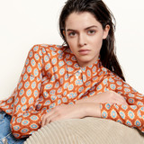 Classic shirt in printed silk - Red
