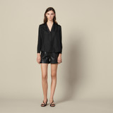 Silk shirt with V neck - Black