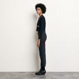Cropped cardigan with shirt collar - Black