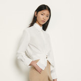 Sandro Paris Women's Cropped shirt with removable bow  - White