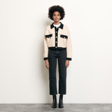 Cropped cardigan with topstitching - Nude