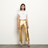 Metallic leather trousers - Gold