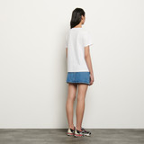 Organic cotton T shirt with patch - White