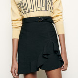 Short asymmetric skirt with ruffle - Black