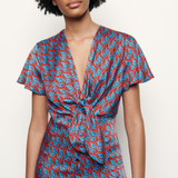 Long printed dress with tie fastening - Blue